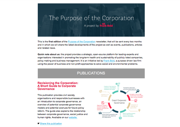 news first edition of the purpose of the corporation newsletter